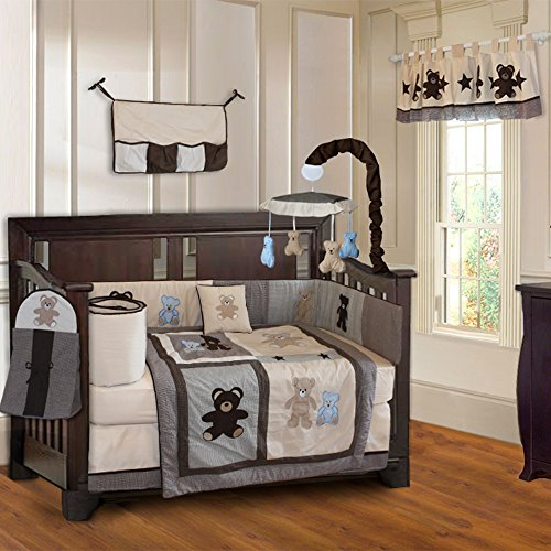 BabyFad Teddy Bear 10 Piece Baby Crib Bedding Set
