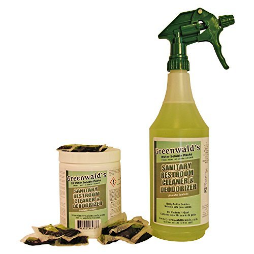 Greenwald's Sanitary Restroom Cleaner - Includes Bonus Refill Packet and Professional Spray Bottle - 20 Count
