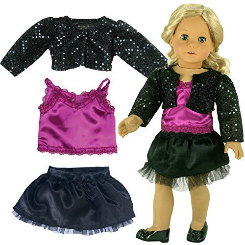 Fits American Girl 18 Inch Doll 3 Pc. Holiday Doll Dress Set and Special Occasions Dressy Outfit Doll Sequin Black Jacket, Berry Tank & (Show Girl Outfits)