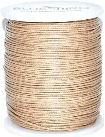 Maine Thread 100 Meters per Spool Blue Bird 2mm Camel Polished/ Braided Cotton Cord Includes 1 Spool.