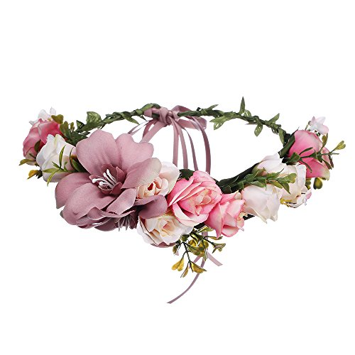 AWAYTR Bohemia Big Lilies Floral Crown Party Wedding Hair Wreaths Hair Bands Flower Headband (Cameo brown) ()
