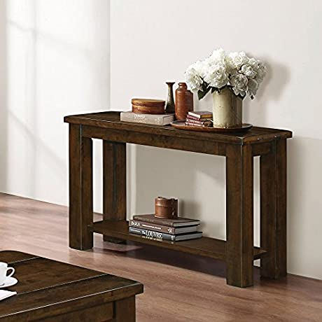 Coaster 1 Shelf Console Table In Rustic Peacn