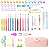 Crochet Hooks, BCMrun 12 BEST CROCHET HOOKS SET with 71 Accessories as a gift Ergonomic Handles EXTREME COMFORT PERFECT for Any Patterns Yarns Smooth Needle for Increased Productivity 2 ~ 8mm