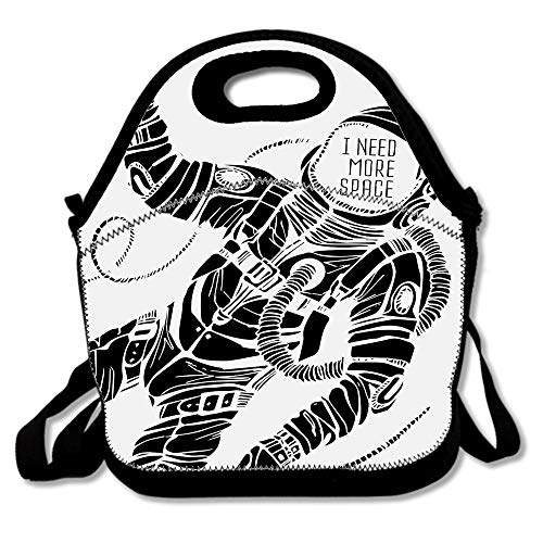 Motivation Calligraphy With Astronaut In The Costume Gravity Artwork Reusable Neoprene Lunch Bag Insulated Lunch Box Tote for Women Men Adult Kids Teens Boys -