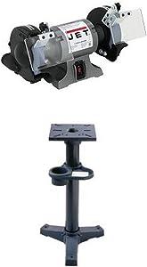 JET 577101 6-Inch Industrial Bench Grinder with JPS-2A, Pedestal Stand for Bench Grinders