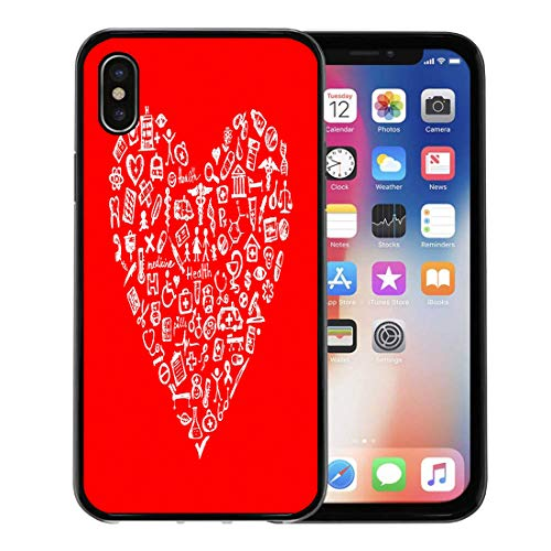 Semtomn Phone Case for Apple iPhone Xs case,Nurse Medical in Heart Shape Doctor Health Symbol Insurance Sketch for iPhone X Case,Rubber Border Protective Case,Black ()