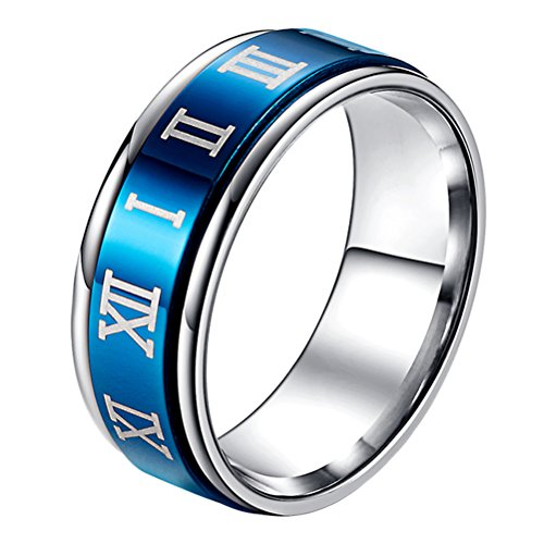- SINLEO Unisex Stainless Steel Spinner Worry Rings Roman Numerals Wedding Band 8MM Black Blue Size 11
