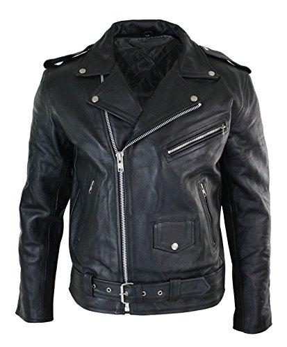 Leather Jacket Men Original Cross Zip Brando Biker Motorcycle Genuine  Leather Jacket TOP Upper eefb9dbbb1a