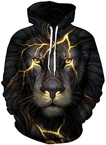 Pandolah Men's 2017 Fashion Athletic Sweatshirts Animal Printed Hoodies (L/XL, 222light Lion-1)