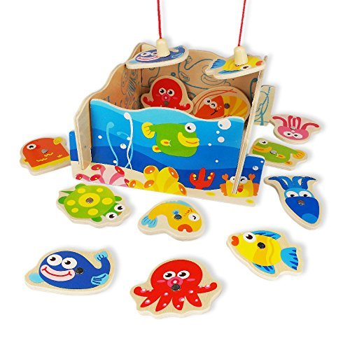 Fun Fishing Game | Adorable Colorful 12pcs Toy Fish and 2 Wooden Magnetic Toys Hook Fishing Rod with Board | Educational Game for Motor Skill and Eye-Hand Coordination