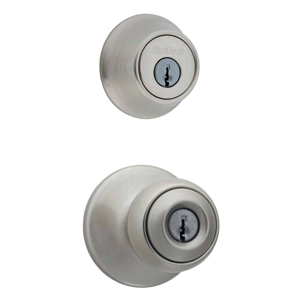 Kwikset 690 Polo Entry Knob and Single Cylinder Deadbolt Combo Pack in Satin Nickel
