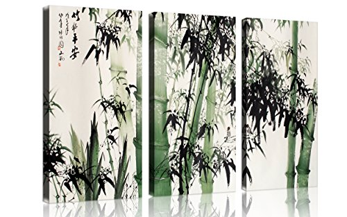 QICAI 3 Panel canvas wall art for home decor Large Chinese Painting of Bamboo Forest Nature Painting The Picture Print On Canvas landscape the Pictures For Home Decor Decoration Gift,ready to hang