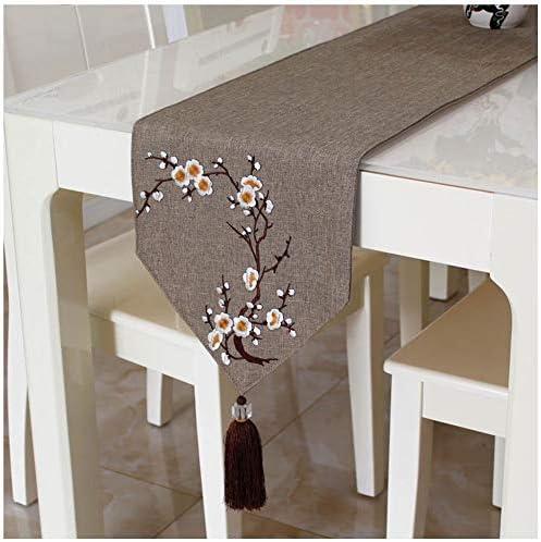 77SRF ドレッサーのための結婚式のディナーパーティー表ドイリーについては、表テーブルクロスダイニングエレガントなテーブルランナータッセルの装飾ソリッドカラープラム刺繍 (Color : Red, Size : 30*220cm)