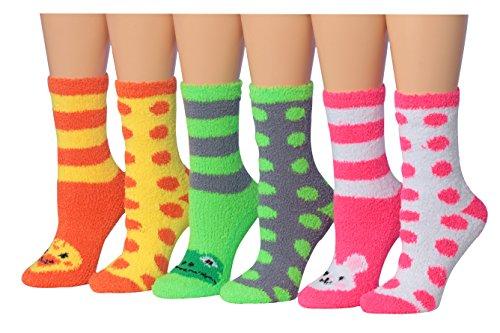 Tipi Toe Women's 6-Pairs Animal Faces Novelty Anti-Skid Soft Fuzzy Crew Slipper Socks, (sock size 9-11) Fits shoe size 6-9, (Toe Animal)