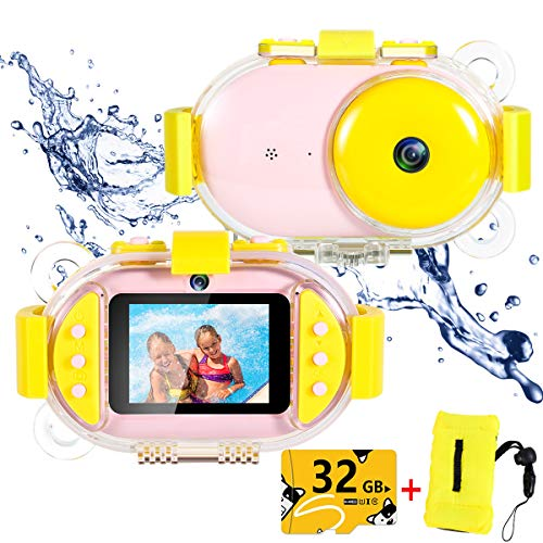 Kids Underwater Camera,ROTEK Dual 8MP 1080P Super HD Waterproof Digtial Camera with 2.4inch IPS Screen 32G Memory Rechargeable Front and Rear Selfie Video Camera for (Best Childs Cameras)