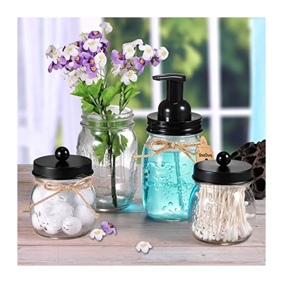 Mason Jar Bathroom Accessories Set - Mason Jar Foaming Hand Soap Dispenser and Qtip Holder Set - Rustic Farmhouse Decor Apothecary Jars Bathroom Countertop and Vanity Organizer (Black)-Patent Pending - ✅ STYLISH STORAGE: Creat depth, texture and a beautiful space by using the mason jar soap dispenser and qtip holder storage jars.It's a cute shabby chic home accessories set you can get!Ideal modern farmhouse decor! ✅ FOAMING HAND SOAP DISPENSER PUMP - Our foaming hand soap dispenser creates luxurious foaming soap with a simple push.DIY the foaming soap by mixing 4 parts water and 1 parts regular soap if you like.Eco-friendly for the environment as well as your household budget ✅ DECORATIVE QTIP HOLDER - The small mason storage jars are an attractive way to organize items like Q-tips, cotton balls, flossers, hair bands or any other bathroom necessities and accessories.Please kindly note:The lid does not screw onto the jar, so it comes off very easily - bathroom-accessory-sets, bathroom-accessories, bathroom - 51nWapPOiyL. SS570  -
