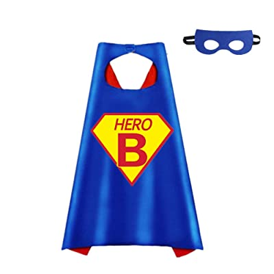 STARKMA Cartoon Hero Theme Party Dress Up Costume Two Side Stain Cape and Felt Mask Hero Logo and 26 Letters Choice: Clothing