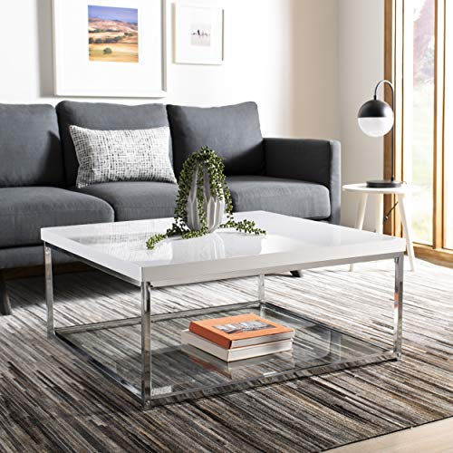 Safavieh Home Collection Malone White and Chrome Coffee Table (White Room Table Living)