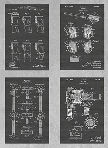 Bathroom Wall Art Collection: Set of Four Patent Print Art Posters: Choose From Multiple Size and Background Color Options