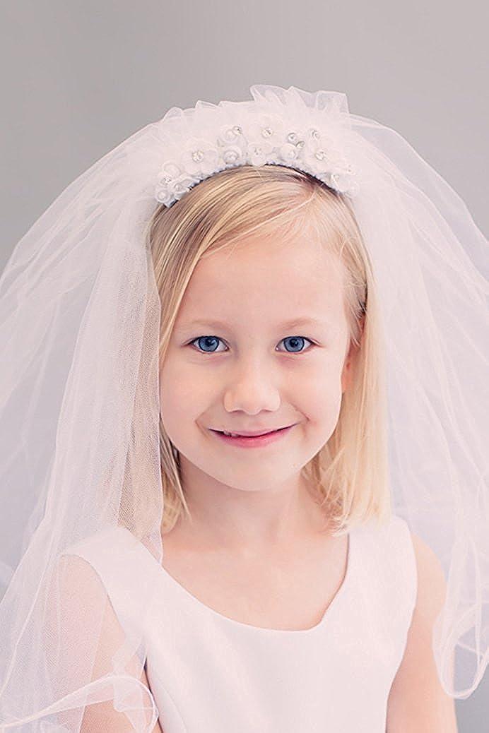iGirldress Girls White Floral Wreath Rhinestone Pearls First Communion Veil