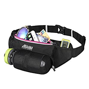 "Fanny Pack AIHOLES AiRunAmuse Running Water Bottle Belt with Water Bottle Holder Fits all Large Smartphones with Case + Accessories Reflective Water Bottle Pack for Running Hiking (Pink 3.2"")"