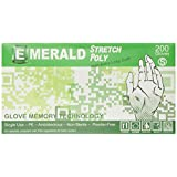 Emerald 4320 Poly Stretch Gloves, Full Case of 10 boxes with 100 per box, Size SMALL