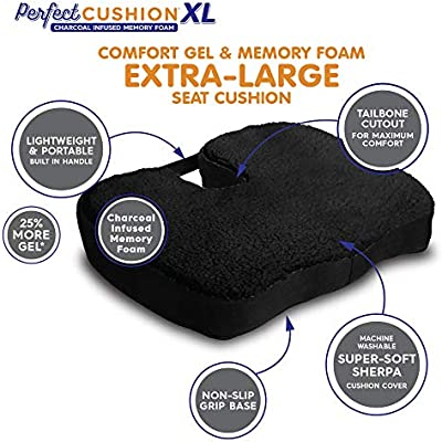 Designed to Cradle /& Support Your Body; Helps to Relieve Back Hip /& Tailbone Pain With Built in Carry Handle Perfect Cushion XL Charcoal Infused Memory Foam /& Gel Seat; Quality /& Therapeutic Comfort