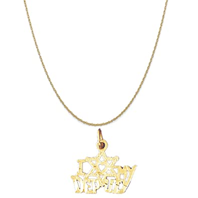 Box or Curb Chain Necklace 14k Yellow Gold Special Lover Pendant on a 14K Yellow Gold Rope