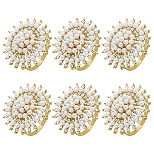 C&L Accessories Gold Pearl Flower Napkin Rings Set of 6 for Dinner Party,Family Gatherings,Wedding