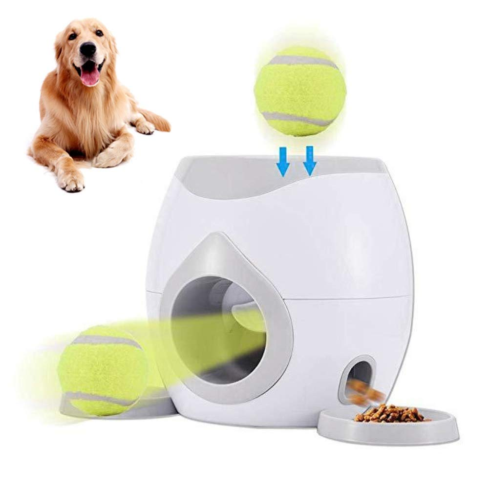 Foreen 2 in1 Ball Fetch Food Feeder Reward Machine Interactive Training Toy Dog Puppy Toys Pet Supplies Grey by Foreen