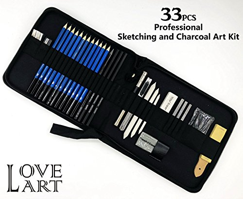Love Art 33pcs Professional Art Kit - Sketching and Drawing Pencil Set in Zippered Carrying case - Art Supplies Including Drawing and Charcoal Pencil, Graphite Pencil, Eraser, Charcoal Stick - Black