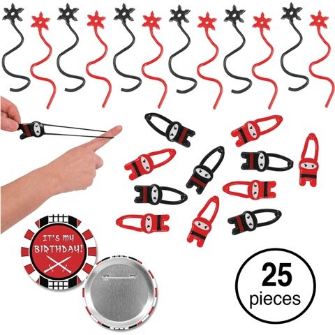 Ninja Party Favors Bundle Flying Ninjas and Ninja Star Sticky Toys Black and Red Ninja Birthday Supplies for 12 -