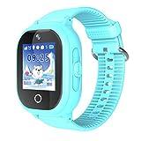 Reloj Inteligente para niños y niñas, Resistente al Agua, Anti pérdida, rastreador GPS SIM Solt podómetro, cámara SOS, Relojes Inteligentes para niños, Compatible con iOS y Android, Azul