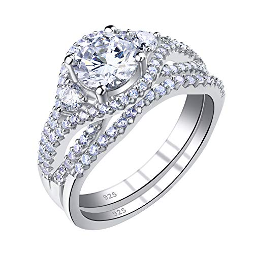 SHELOVES Womens Wedding Ring Sets Round Cut Cz 925 Sterling Silver Bridal Engagement Rings Size 5-10
