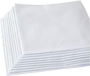 HANKYTEX Pañuelos blancos, 100% algodón suave pañuelo de los hombres (12 piezas): Amazon.es: Ropa y accesorios