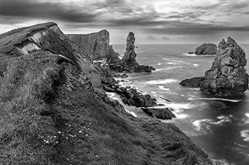 高い岩の多い海岸の壁紙-自然の壁紙-#38237 - 白黒の キャンバス ステッカー 印刷 壁紙ポスター はがせるシール式 写真 特大 絵画 壁飾り75cmx50cm