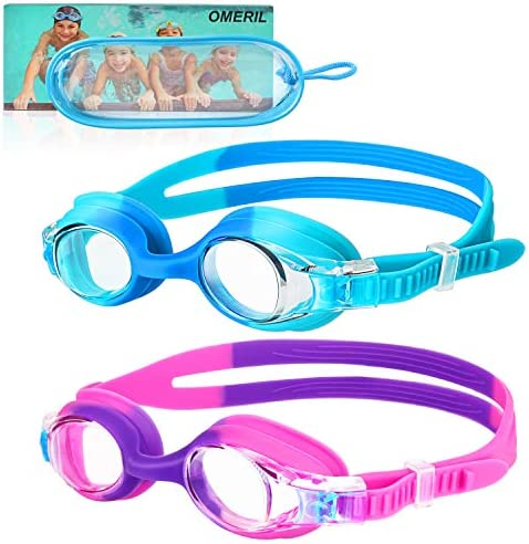 OMERIL Swim Goggles, 2 Packs Anti-Fog Leak Proof Kids Swimming Goggles. Flexible Nose Bridge, 3-d Tight Fit Design, Wide View Swim Glasses with Portable Case for Children and Teens (Age 6-14)