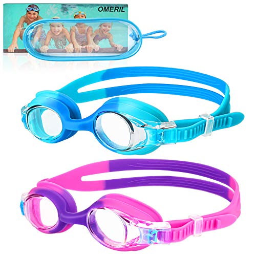 OMERIL Kids Swim Goggles, 2 Pack Swimming Goggles No Leaking Anti Fog Adult Men Women (Age 6-14)