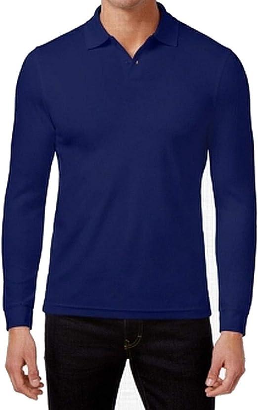 Tasso Elba Mens Supima Long Sleeve Polo Rugby Shirt Reds