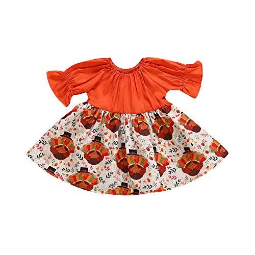 Shining Star Turkey - Quelife Newborn Kids Baby Girl Thanksgiving Turkey Party Pageant Dress Sundress (Orange,100)