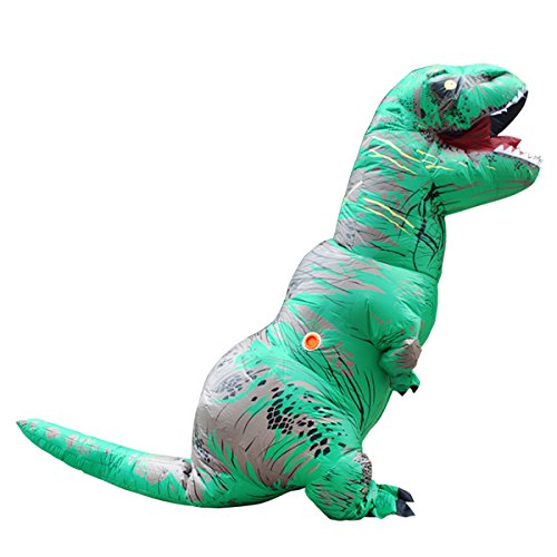 Tricandide Inflatable Dinosaur T-REX Adult Halloween Costume Cosplay Blow Up Costume Green