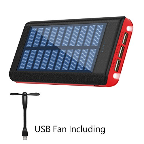 Price comparison product image Solar Charger Ruipu 24000mAh Portable Charger Power Bank Battery Pack With Three Outputs For iPhone iPad Tablet Samsung HTC Android Phone And More