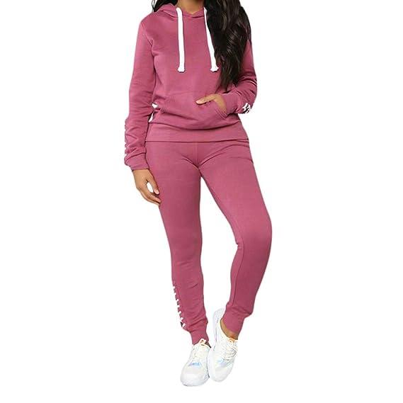 Damen Jogginganzug Sweatshirt Gestreift Jacke Hose Top Trainingsanzug Sportanzug