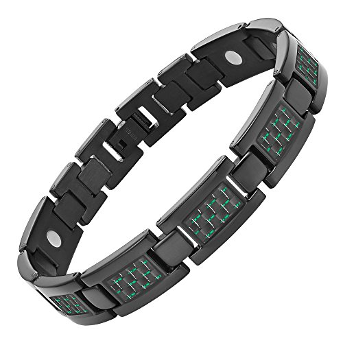 Willis Judd Mens Black Titanium Magnetic Bracelet With Green Carbon Fiber Insets with Link Removal Tool