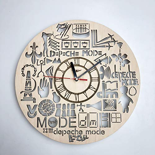 7ArtsStudio Depeche Mode Wall Clock Made of Wood - Perfect and Beautifully Cut - Decorate Your Home with Modern Art - Unique Gift for Him and Her - Size 12 Inches