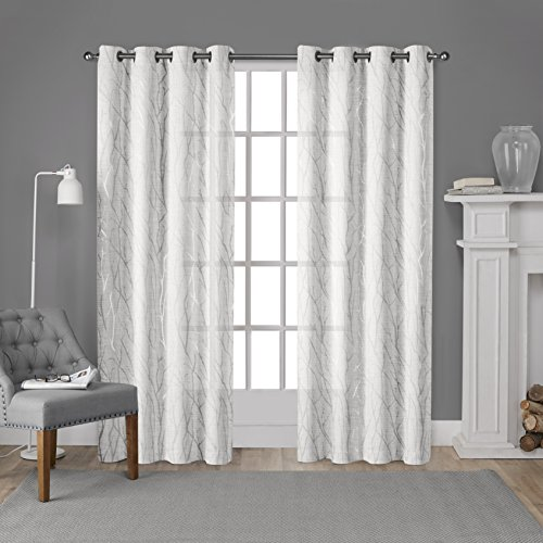 Exclusive Home Curtains Woodland Printed Metallic Branch Textured Linen Sheer Grommet Top Window Curtain Panel Pair, Winter Silver, 54x96 (Drapes Geometric)