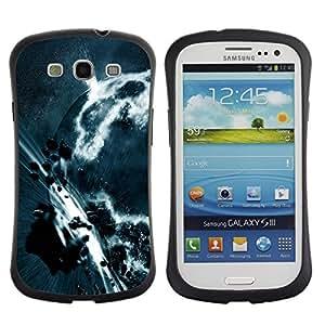 Fuerte Suave TPU GEL Caso Carcasa de Protección Funda para Samsung Galaxy S3 I9300 / Business Style Asteroid Belt Apocalypse Planet Art Earth Grey