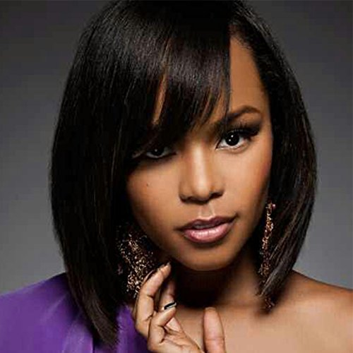 Royal-First Glueless 100% Human hair Short Bob Lace front wig 7A Brazilian Human Hair Straight Bob wigs With Bangs for Women 10 inches #1 Jet Black ()