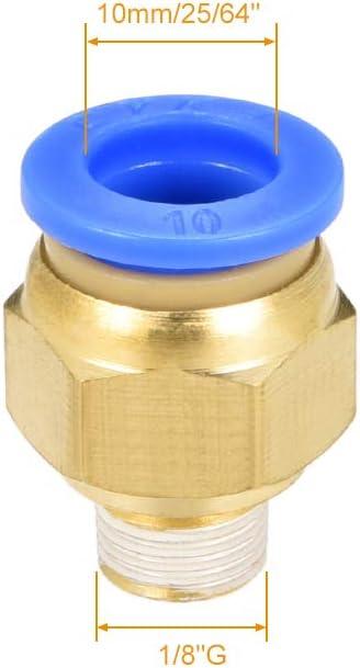 Juego de accesorios rectos para conexi/ón r/ápida G 1//8 macho x tubo de 10 mm de di/ámetro exterior 5 unidades Sourcingmap