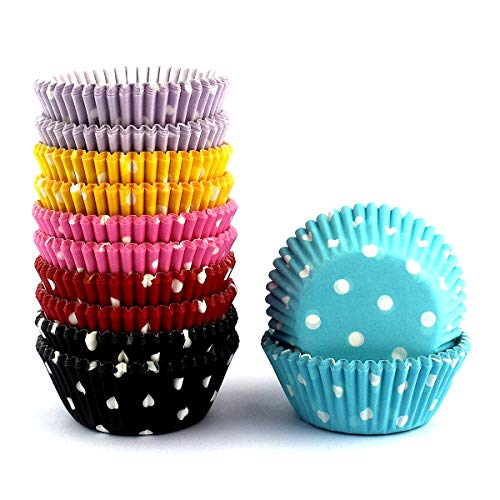 Mkustar 300 Count Mini Cupcake Liners Polka Dots Baking Paper Cups]()